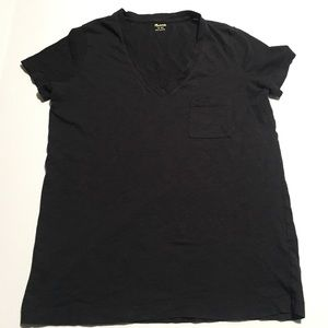 MADEWELL Black Cotton Vneck Top Size XS